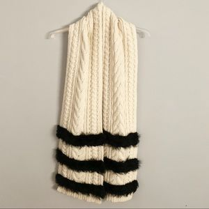 J Crew Collection Fur Striped Cable-Knit Scarf